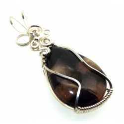 Chiastolite Cross Silver Filled Wrapped Pendant 09