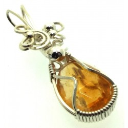 Brazilian Citrine Sterling Silver Wire Wrapped Pendant 01