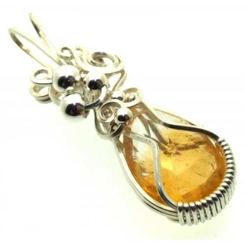Brazilian Citrine Sterling Silver Wire Wrapped Pendant 02