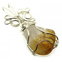 Brandy Citrine Silver Plated Wire Wrapped Pendant 06