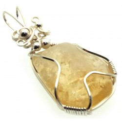 Citrine Silver Plated Wire Wrapped Pendant 07
