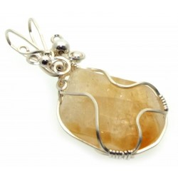 Citrine Silver Plated Wire Wrapped Pendant 03