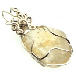 Citrine Silver Plated Wire Wrapped Pendant 04