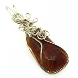 Brandy Citrine Sterling Silver Wire Wrapped Pendant 09
