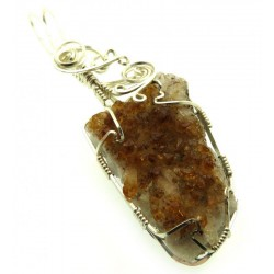 Citrine Cluster Silver Plated Wire Wrapped Pendant 10