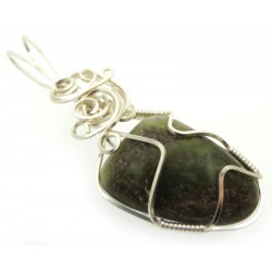 Connemara Marble Silver Plated Wire Wrapped Pendant 01