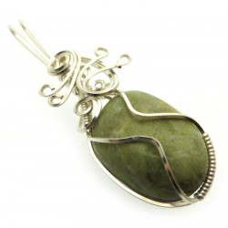 Connemara Marble Silver Plated Wire Wrapped Pendant 03