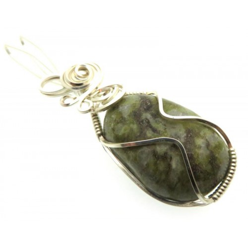 Connemara Marble Silver Plated Wire Wrapped Pendant 04