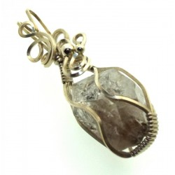 Herkimer Diamond Gemstone Silver Plated Wire Wrapped Pendant 08