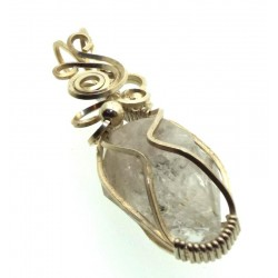 Herkimer Diamond Gemstone Silver Plated Wire Wrapped Pendant 09