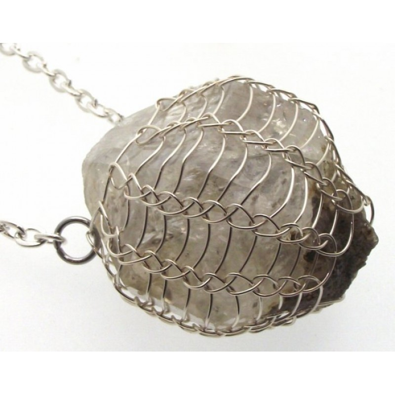 Large Herkimer Diamond Wire Wrapped Pendant Design 1
