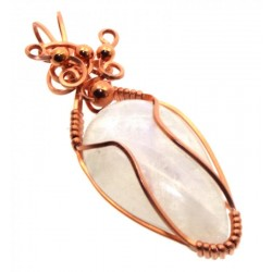 Rainbow Moonstone Gemstone Copper Wire Wrapped Pendant 02