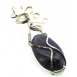 Iolite Gemstone Silver Plated Wire Wrapped Pendant 02