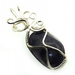 Iolite Gemstone Silver Plated Wire Wrapped Pendant 03