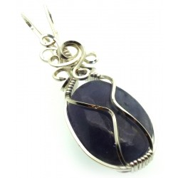 Iolite Gemstone Silver Plated Wire Wrapped Pendant 07