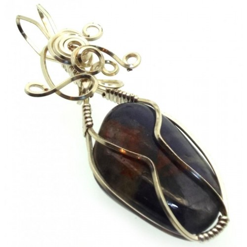 Iolite Gemstone Silver Plated Wire Wrapped Pendant 08