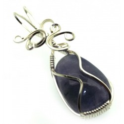 Iolite Gemstone Silver Plated Wire Wrapped Pendant 09