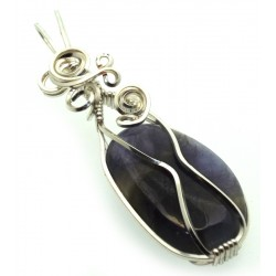 Iolite Gemstone Silver Plated Wire Wrapped Pendant 11