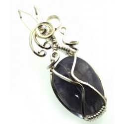 Iolite Gemstone Silver Plated Wire Wrapped Pendant 13