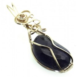 Iolite Gemstone Silver Plated Wire Wrapped Pendant 19