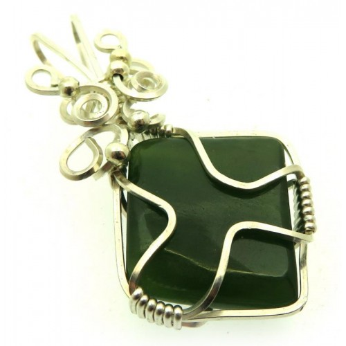 Nephrite Jade Gemstone Silver Plated Wire Wrapped Pendant 01