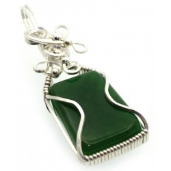 Nephrite Jade Gemstone Silver Plated Wire Wrapped Pendant 02