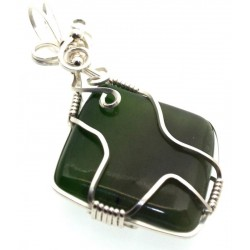Nephrite Jade Gemstone Silver Plated Wire Wrapped Pendant 03