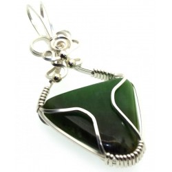 Nephrite Jade Gemstone Silver Plated Wire Wrapped Pendant 04