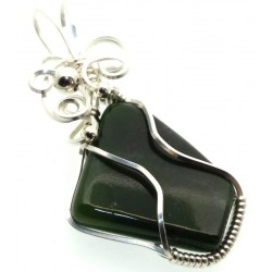 Nephrite Jade Gemstone Silver Plated Wire Wrapped Pendant 05