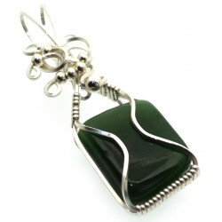 Nephrite Jade Gemstone Silver Plated Wire Wrapped Pendant 06