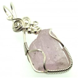 Kunzite Gemstone Silver Filled Wire Wrapped Pendant 05