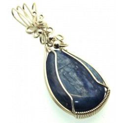 Blue Kyanite Gemstone Sterling Silver Wire Wrapped Pendant 01