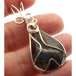 Labradorite Gemstone Silver Filled Wire Wrapped Pendant 12