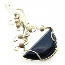 Lapis Lazuli Gemstone Silver Plated Wire Wrapped Pendant 03
