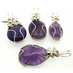 Lucky Dip Amethyst Silver Plated Wire Wrapped Pendant