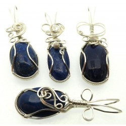 Lucky Dip Lapis Lazuli Silver Plated Wire Wrapped Pendant