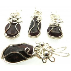 Lucky Dip Indian Ruby Silver Plated Wire Wrapped Pendant