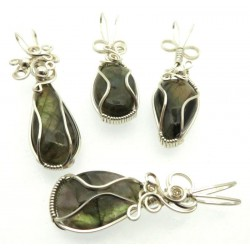 Lucky Dip Labradorite Silver Plated Wire Wrapped Pendant