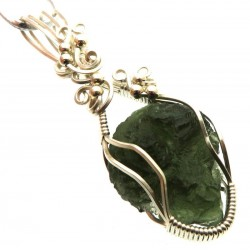 Large Moldavite Gemstone Sterling Silver Wire Wrapped Pendant 01