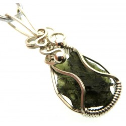 Large Moldavite Gemstone Sterling Silver Wire Wrapped Pendant 02