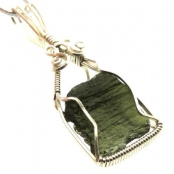 Large Moldavite Gemstone Sterling Silver Wire Wrapped Pendant 03