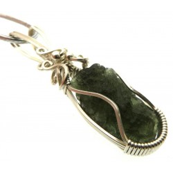 Large Moldavite Gemstone Sterling Silver Wire Wrapped Pendant 04