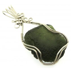 Large Moldavite Gemstone Sterling Silver Wire Wrapped Pendant 06