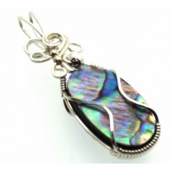 Paua Shell Silver Filled Wire Wrapped Pendant 05