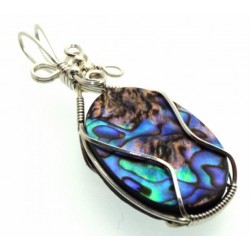 Paua Shell Silver Filled Wire Wrapped Pendant 06