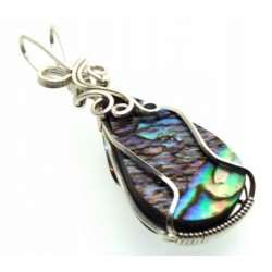 Paua Shell Silver Filled Wire Wrapped Pendant 07