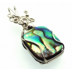 Paua Shell Silver Filled Wire Wrapped Pendant 10