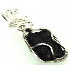 Black Tourmaline Sterling Silver Wire Wrapped Pendant 01
