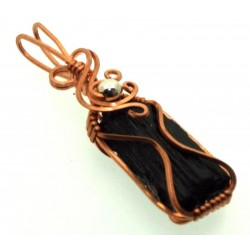 Black Tourmaline Copper Wire Wrapped Pendant 07