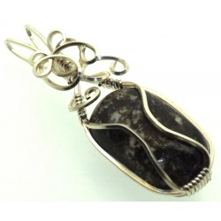 Dravite Brown Tourmaline Silver Filled Wire Wrapped Pendant 05